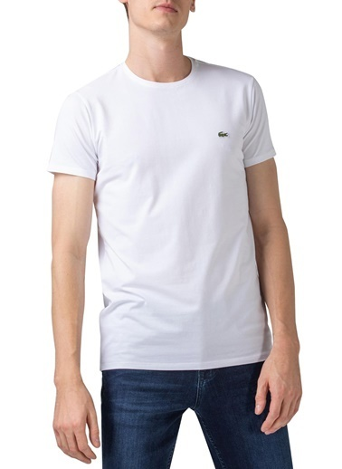 Lacoste  Pamuklu Slim Fit Bisiklet Yaka T Shirt Erkek T Shırt Th0998 001 Beyaz